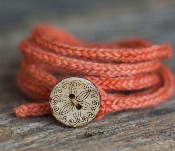 Coral Wrap Bracelet  Rustic I Cord  Wooden by thesittingtree, $25.00