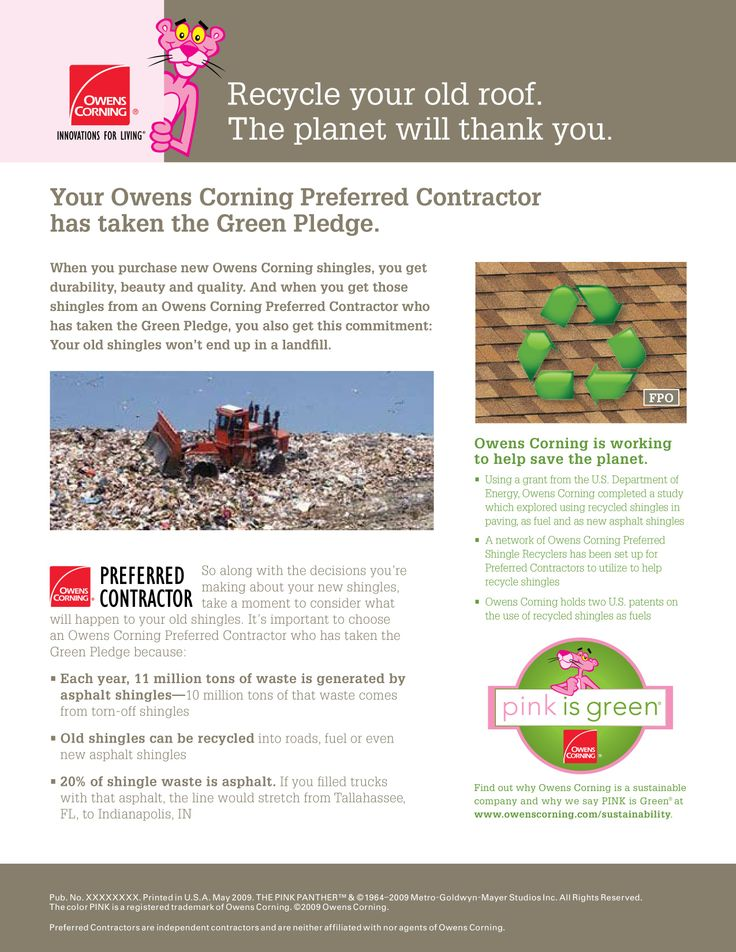 LJS Home Improvement Contractors is proud to partner with Owens Corning by taking The Green Pledge to help save the planet.