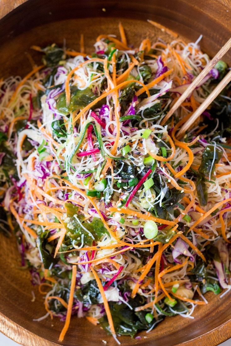 Rice noodle salad with sesame dressing makes a great summer meal or appetiser. Its quick to make and doesnt require cooking. Its vegan and gluten-free. #JamiesGlutenfreerecipes