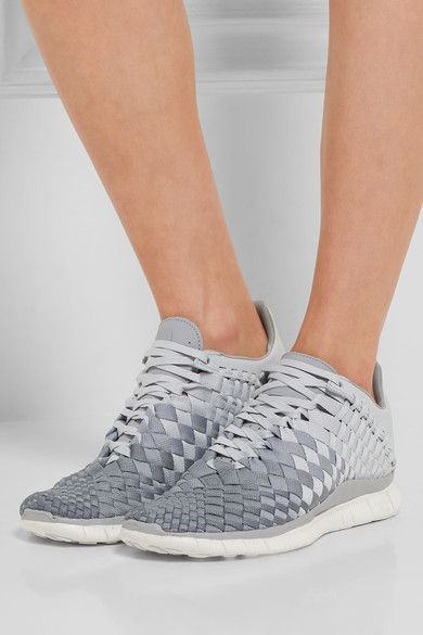 NIKE Free Inneva leather-trimmed woven sneakers £140. They can fold/squash and fit in a gym bag!