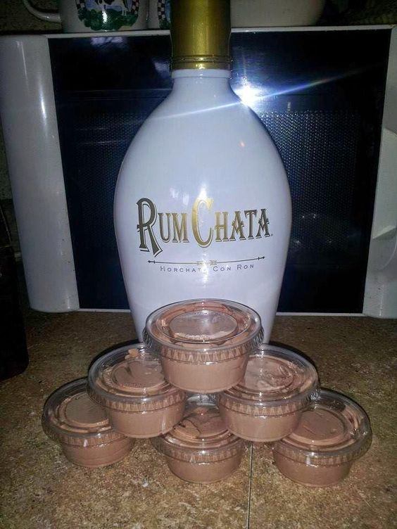 RumChata Pudding Shots-RumChata Pudding Shots 1 4 oz pkg instant chocolate jello pudding 1 cup milk 1 cup Rum Chata 1 8 oz container cool whip