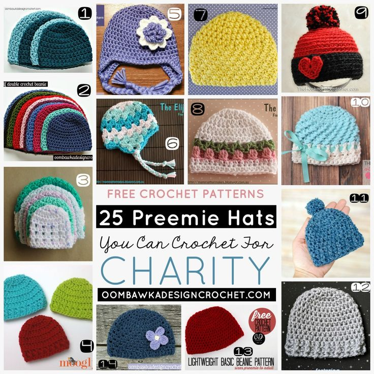 25 Preemie Hats You Can Crochet for Charity! 25 Free Patterns for Crochet Hats for Preemies. via @OombawkaDesign