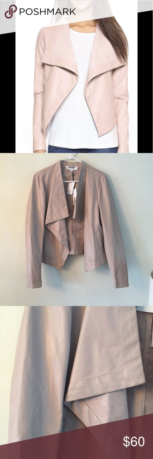 BB Dakota Drapery Front Jacket Size L Soft faux leather composes this BB Dakota jacket. A draped open placket creates an undone feel, and fitted sleeves lend a chic finish. Welt front pockets. Unlined. BB Dakota Jackets & Coats