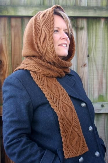 Lace & Cable Hooded Scarf