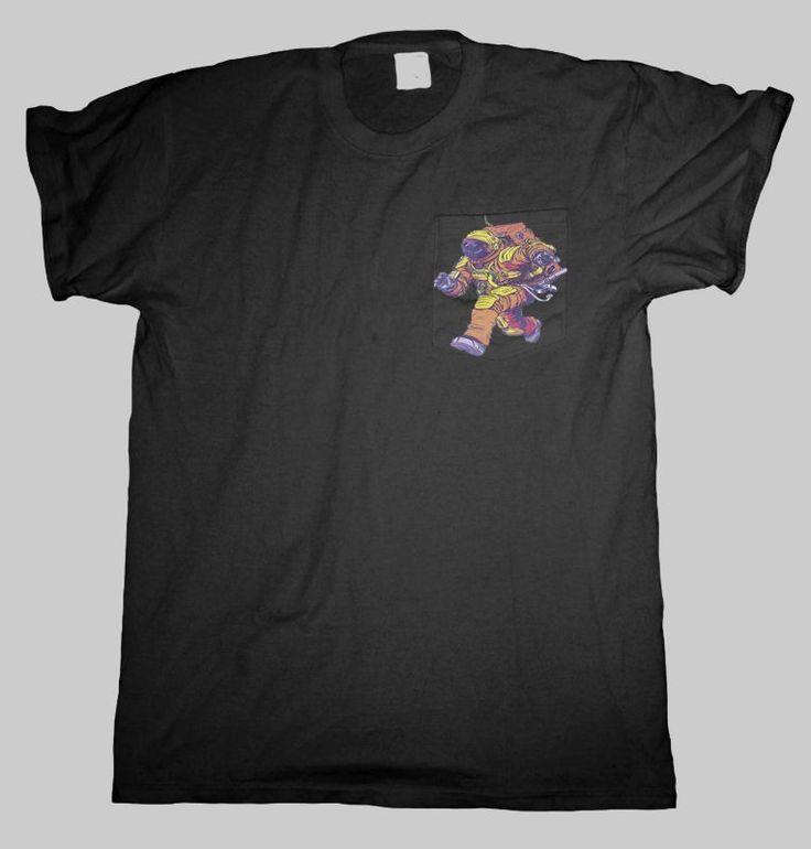 Astronaut Pocket T Shirt Black Men S - 2XL  #HailFridayCompagnie #PremiumTees