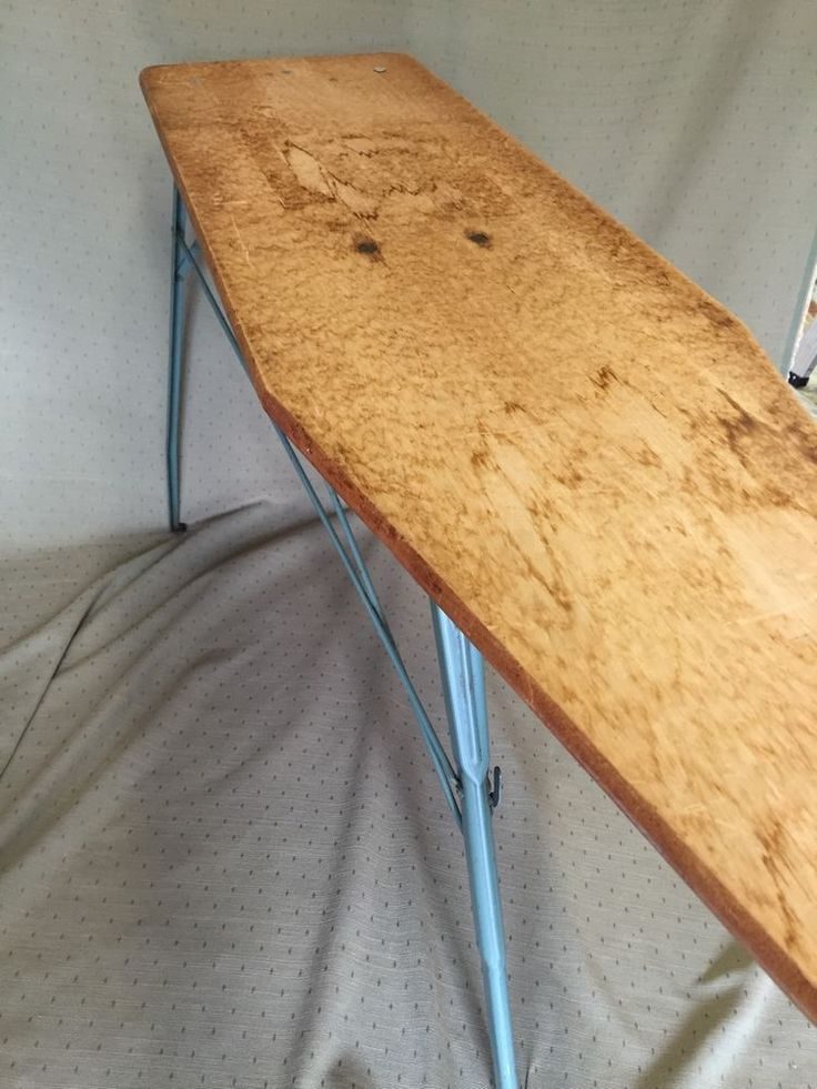 Vintage Ironing Board Wooden MidCentury Metal Legs Collapsible #Unbranded
