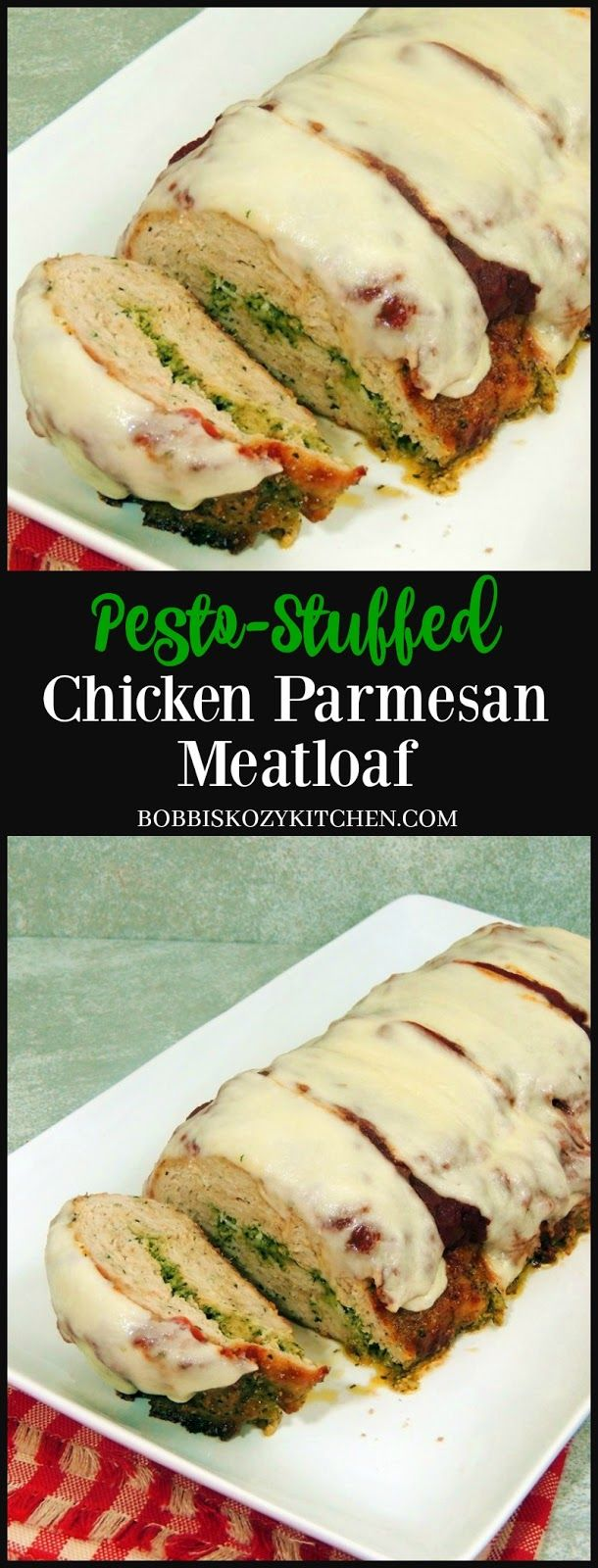 Pesto Stuffed Chicken Parmesan Meatloaf - All the delicious flavors of chicken parmesan wrapped into a meatloaf stuffed with pesto. It doesn't get much better than this! From www.bobbiskozykitchen.com