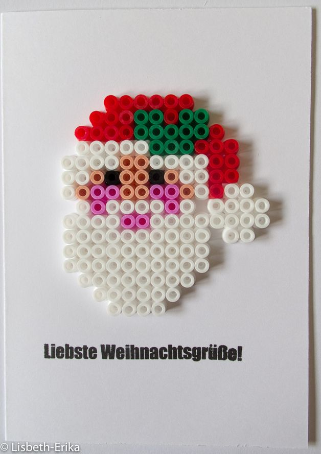 Christmas card Santa hama perler by  Lisbeth-Erika