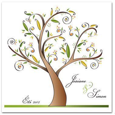 Faire-part de mariage. Thème de la nature avec arbre stylisé.