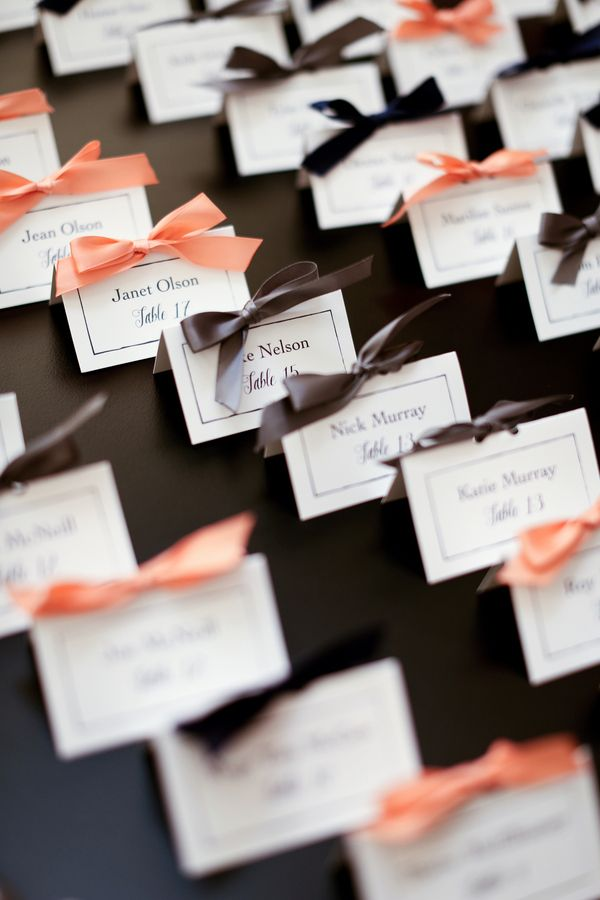 Add bows to your escort cards for an instant touch of elegance