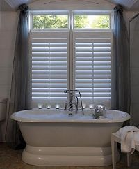 Shutters To The Top Horizontal Bar Art Bathroom Window Treatment