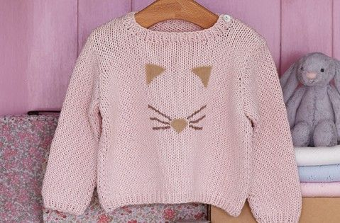 Free knitting patterns  - Free knitting patterns UK: Knitted cat face baby jumper - goodtoknow