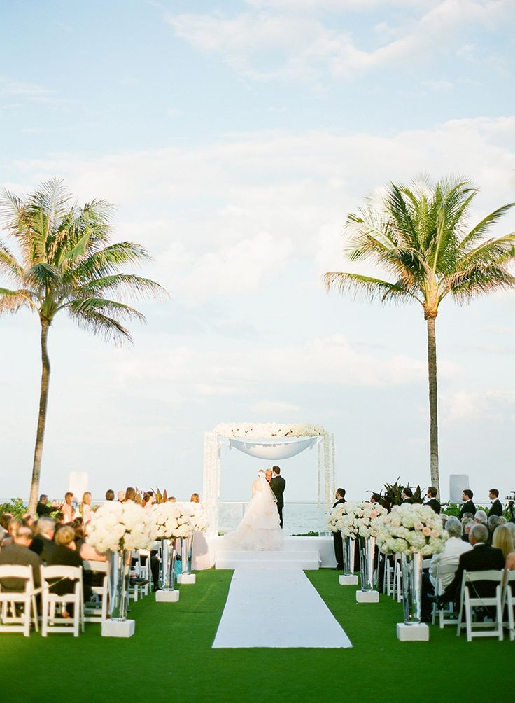 Beachside wedding ceremony in Palm Beach, Fl at #TheBreakers weddingsbythebreakers.com shot by @ktmerry