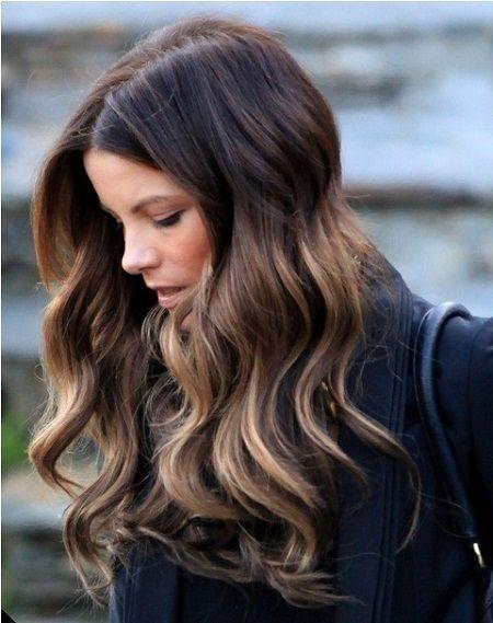 Dark brown hair with caramel ends ...