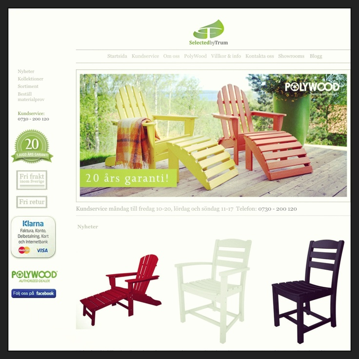 Webdesign for Selected by Trum shop. Online retail for Polywood furniture.