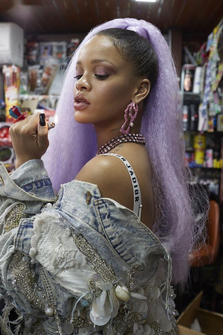 Rihanna wears embellished denim jacket from 5:31 Jerome and Dior bra