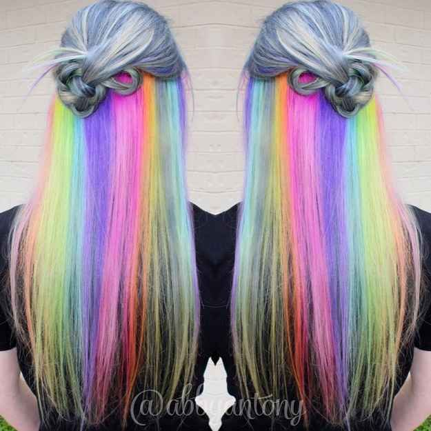 """Hidden Rainbow<<<Someone should use this to come out. Of the closet. Just like dye your hair like this and be like """"Surprise! You thought i dyed my hair some gray? A mix of black and white, like the heterosexual flag? Lol think again- I'm gay as fuck"""""""
