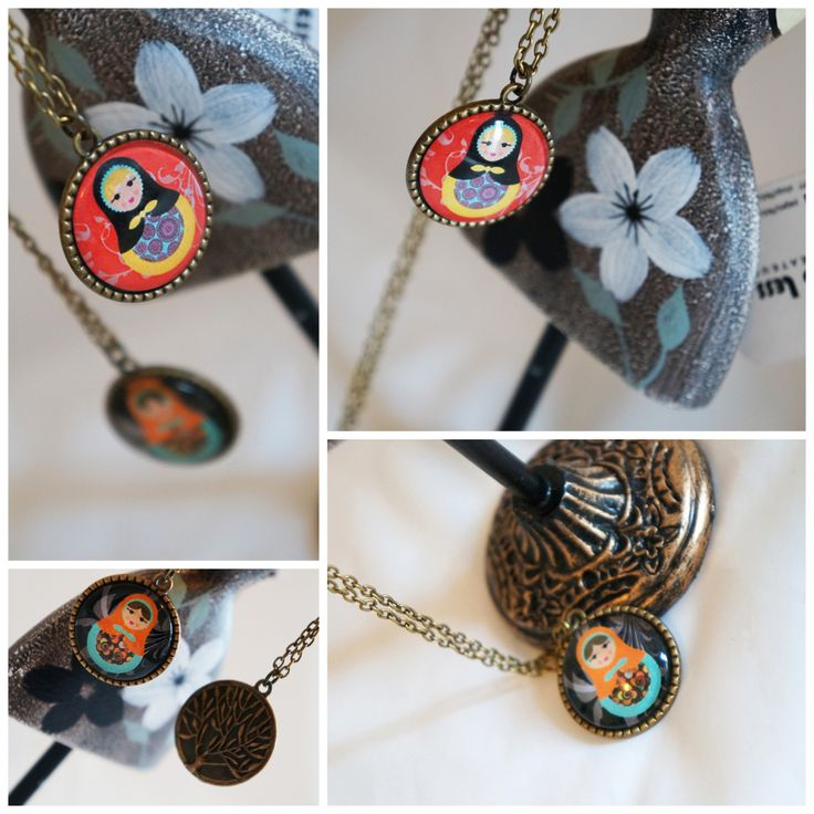 Double faced Russian Doll Long Necklace in bronze color, Vintage Handmade