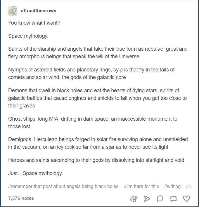 I love this idea! Putting together science fiction and mythology world be so cool, especially since everyone separate​s them.