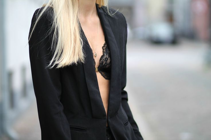 Outfit details. Black suit and lace bra. See more on natulia.com