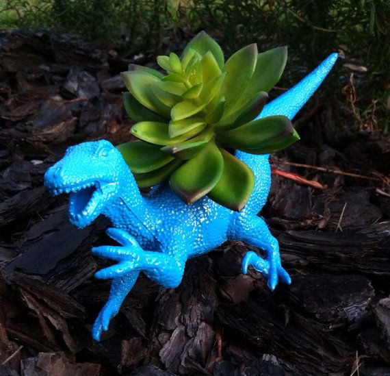 Bright Blue Raptor Dinosaur Planter for Succulents and Small Cacti on Etsy, $12.00