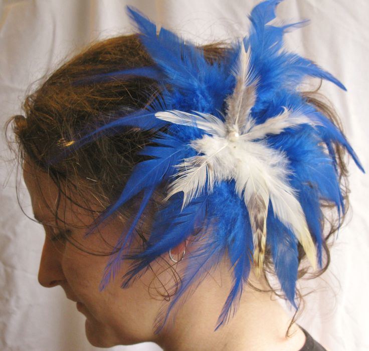 Large Fluttering Ultramarine Blue and Natural Feather Flower Fascinator, Hairpiece, Clip, Accessories by PeachesPlumageWorks on Etsy