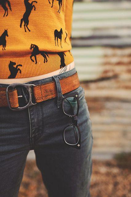 horse print sweater.