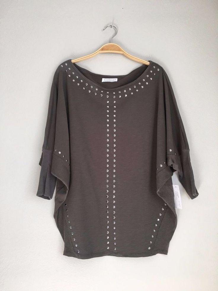 VELVET By Graham & Spencer Arina Cotton Terry Slub Studded Top Sweater S $108 #VelvetbyGrahamSpencer #Sweatshirt #Casual
