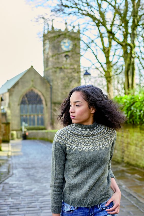 Fumbar - This stunning and versatile sweater features a unique fairisle yoke and is knitted in the round. Using three shades of Felted Tweed, a beautiful blend of 75% wool and 25% hemp, it was designed by Marie Wallin.