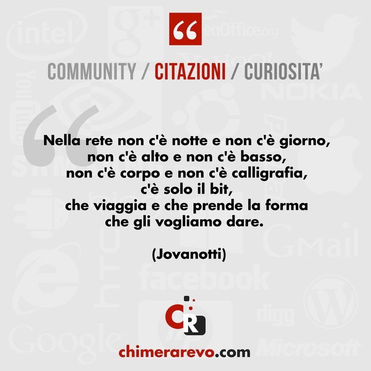 #Quotes #Citazioni #Web #Internet #News #Computer www.chimerarevo.com Il sito di tecnologia senza peli sulla lingua. Recensioni e news su internet, smartphone, tablet e tendenze tech. Seguici anche su: Facebook: https://www.facebook.com/chimerarevo YouTube: http://www.youtube.com/user/ChimeraRevo Twitter: https://twitter.com/chimerarevo Google+: https://plus.google.com/+chimerarevo/posts