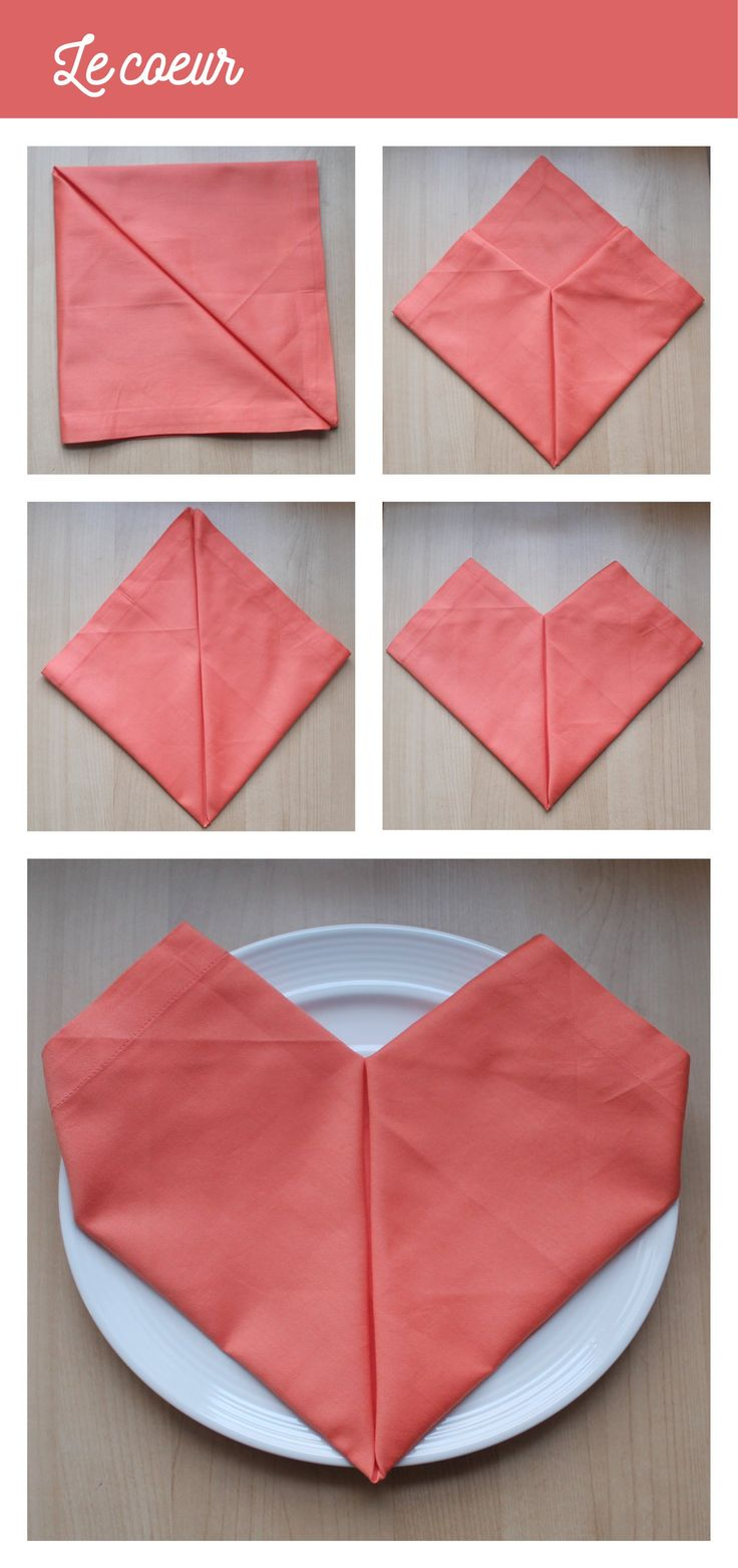 Pliage de serviette de table en tissu en forme de coeur. Parfait pour la table de la St-Valentin du 14 février. L'art de la table parfait !