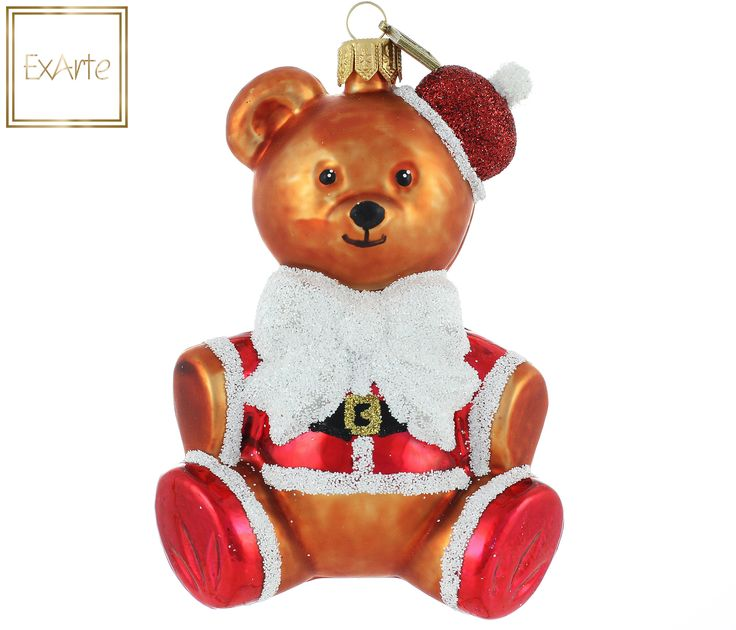 Szklane, ręczne malowane bombki choinkowe.  Szklana bombka: Brązowy miś w przebraniu św. mikołaja: czerwony kubrak i buty obszyte białym futerkiem, czarny pasek ze złotą klamrą i troszkę zbyt mała mikołajkowa czapka na lewym uszku.  Brown teddy bear in Santa costume: red doublet and boots trimmed with white fur, black belt with a gold buckle and a little too small Santa Claus hat on the left ear.