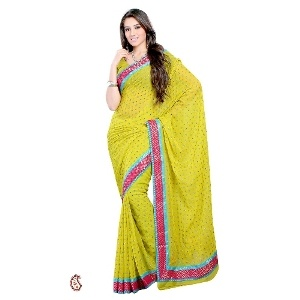 Ethnic Mirror work Georgette saree -- Ethnic mirror work georgette saree with gold print patch border ; Costume/Outfit: Saree with Block printed blouse piece; Colour:Green with magenta border ; Saree with multi colored mirror embroidery and hand block gold printed border in contrast; Fabric: viscose georgette; ideal for casual drape,gifting and semi formal/formal occasions $85
