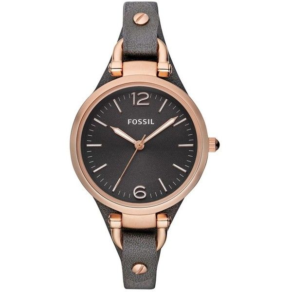 Fossil Women's Ladies Georgia Black Leather Watch ($125) ❤ liked on Polyvore featuring jewelry, watches, black, fossil jewellery, fossil jewelry, leather wrist watch, thin wrist watch and leather jewelry