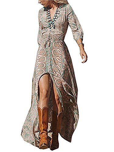 Vintage Boho Women Floral Print Split Long Dress.. Season : Summer. Material : Chiffon,Polyester. Sleeve Length : Long Sleeve. Style : Bohemian,Vintage