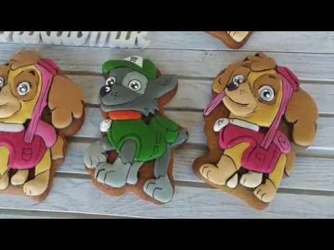 Имбирные пряники: Мастер - класс -Щенячий патруль/Paw Patrol - How to decorate Cookies / - YouTube