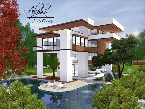 17 best images about sims 3 and 4 houses on pinterest for The sims 4 house designs modern villa