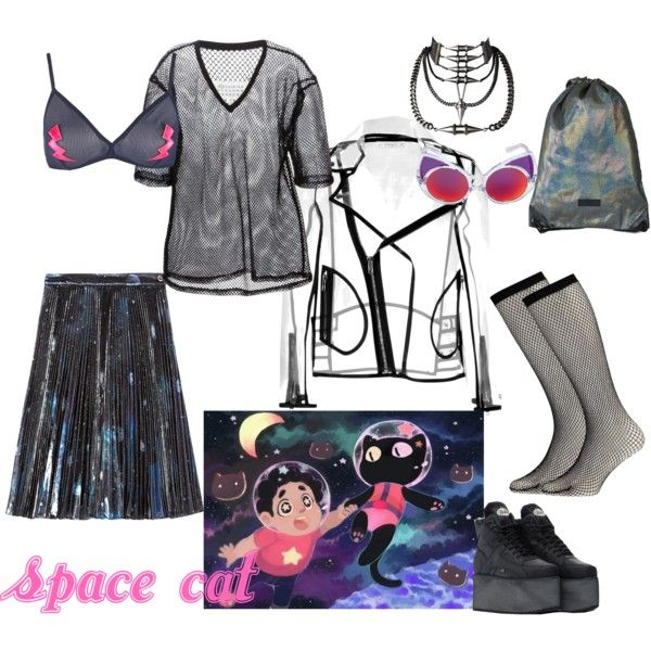 space cat by postpunkfaery on Polyvore featuring mode, Maison Margiela, MARC BY MARC JACOBS, Wanda Nylon, Topshop, Boohoo and Buffalo