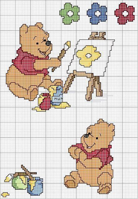 schema da ricamare di winnie the pooh che dipinge