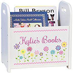 Personalized Child's Book Storage Magazine Rack - Girl's