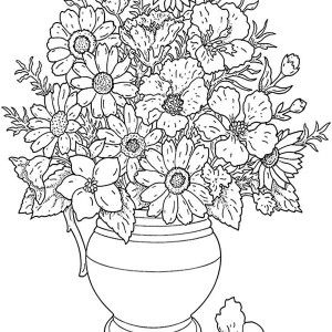 Bouquet Flowers Coloring Sheets Printable Free For Little Kids