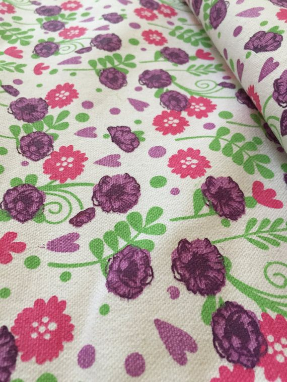 Printed Canvas fabric, Flower Garden Print, Unfinished canvas, High width, 60 inch width, thick fabric, plain white edge, multicolor print,