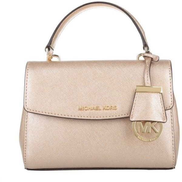 Michael Kors Shoulder Bag - Ava XS Crossbody Pale Gold - in gold -... (£124) ❤ liked on Polyvore featuring bags, handbags, shoulder bags, gold, pink shoulder bag, pink crossbody purse, pink purse, flap crossbody and pink cross body purse