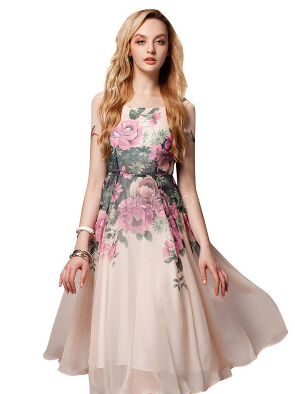 Pink Dress Floral Print Knee-Length Chiffon Vintage Dress