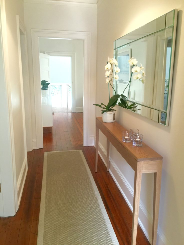 Perfect Runner Mirror And Decor For A Narrow Hallway