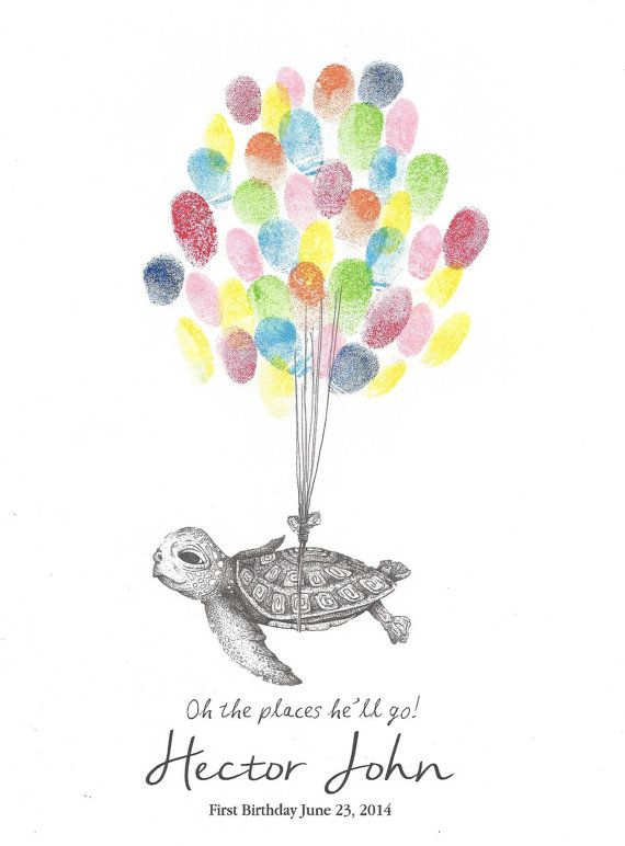 Sea Turtle being lifted by Balloons, Fingerprint Guest Book, Nursery art, Baby Shower, Birthday Party, Drawing, Print, Custom Printable D on Etsy, $18.00