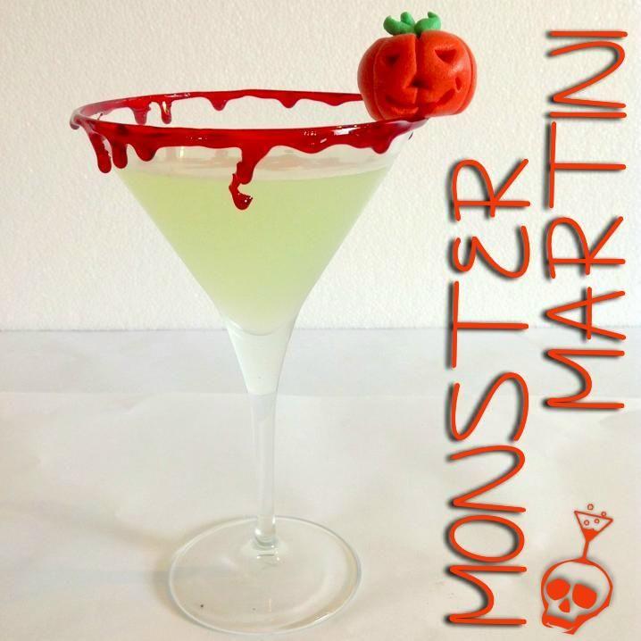 """Cocktail Alcolico """" Monster Martini""""  Ingredienti: 1 ½  oz Russian Standard Vodka ½ oz liquore alla mela verde 1 oz sweet and sour  Categoria: Straight up Bicchiere: Coppa Cocktail Guarnizione: Bordatura del bicchiere in zucchero colorato rosso, marzapane Per la ricetta completa visita http://www.planetone.it/monster-martini/"""