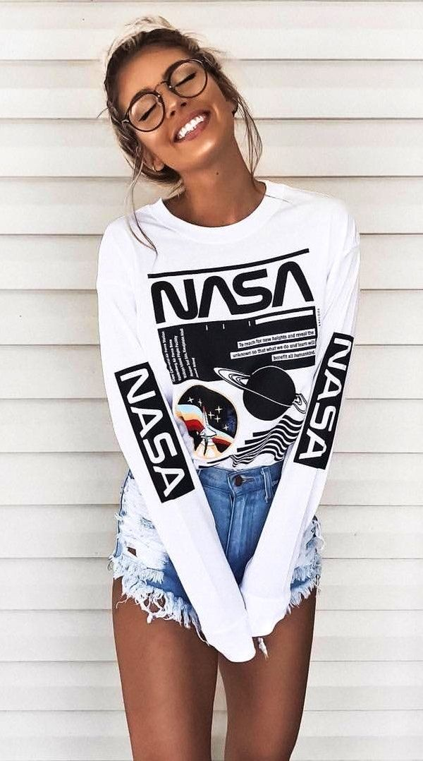 #winter #outfits women's white and back Nasa print long-sleeved shirt