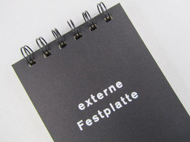 """lustiges Nerd-Notizbuch mit Aufdruck """"externe Festplatte"""" // funny nerd notebook with print external hard drive by HandBuch via DaWanda.com                                                                                                                                                                                 Mehr"""