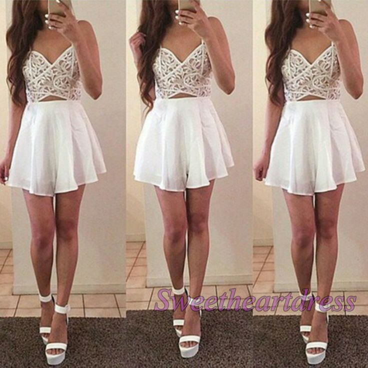 Prom dresses short, prom dress 2016 - http://sweetheartdress.storenvy.com/products/14805954-cute-strapless-open-back-white-chiffon-prom-dress-for-teens